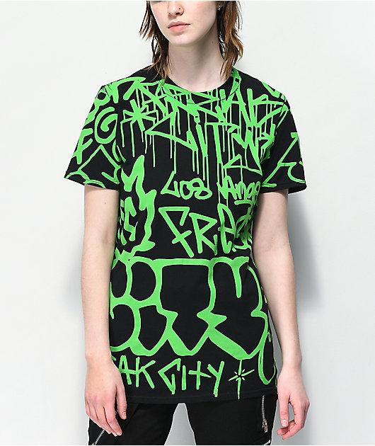Freak City Graffiti Black & Green T-Shirt