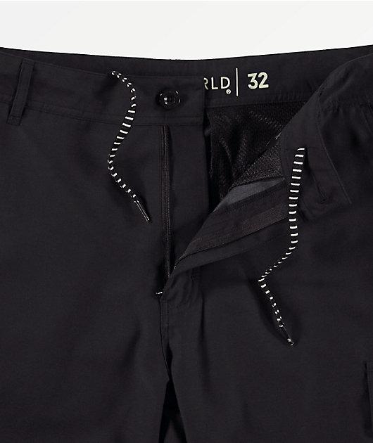 Freeworld Smashing Black Cargo Hybrid Board Shorts