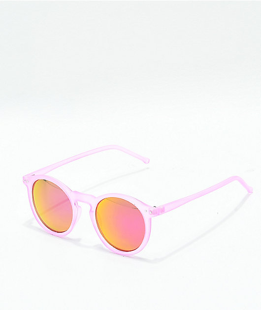 Frost Pink & Pink Mirror Round Sunglasses