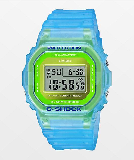G-Shock DW5600 Clear Blue & Green Digital Watch