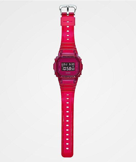 G-Shock DW5600 Clear Red Digital Watch