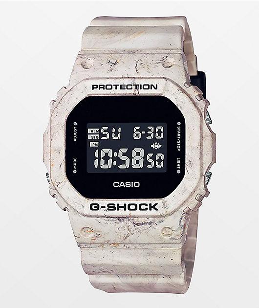 G-Shock DW5600 White Marble Digital Watch