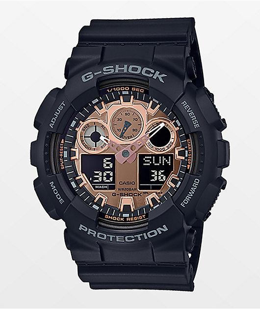 G-Shock GA100 Black & Rose Gold Watch