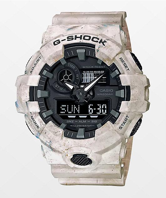 G-Shock GA700 White Marble Digital & Analog Watch