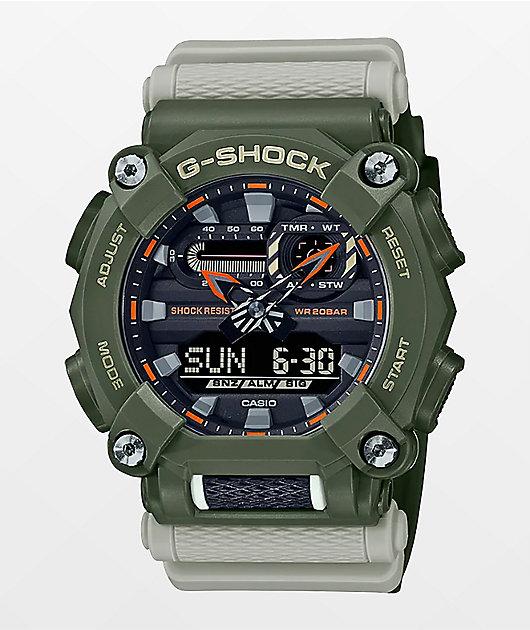 G-Shock GA900HC Green & Off-White Digital & Analog Watch