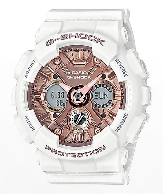 G-Shock GMAS120MF-7A reloj en blanco y rosa dorada