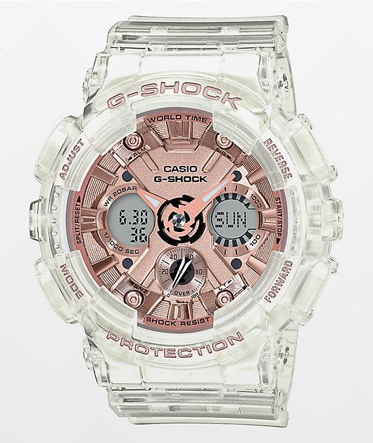 G-Shock GMAS120SR Transparent Rose Gold Watch