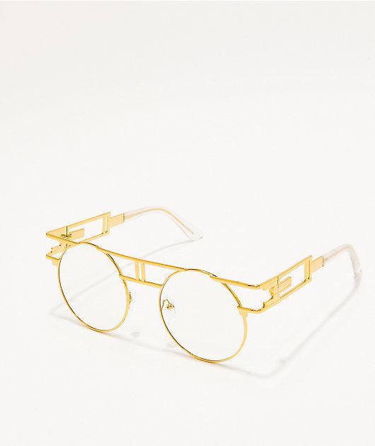 Gafas redondas de oro y transparentes