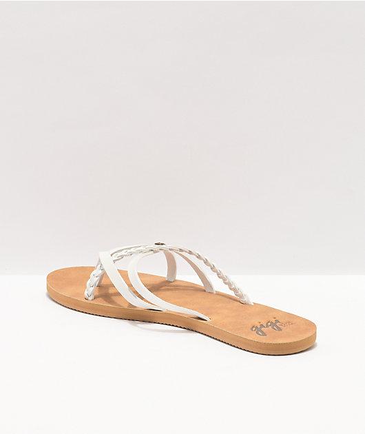 Gigi Star White & Tan Slide Sandals