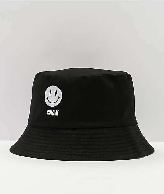 Girls Are Awesome AK Smile Black Bucket Hat