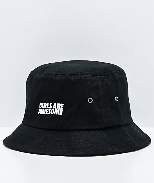 Girls Are Awesome Black Bucket Hat