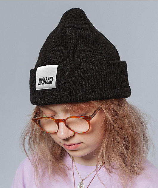 Girls Are Awesome Logo Black Beanie