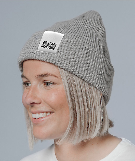 Girls Are Awesome Logo Grey Beanie