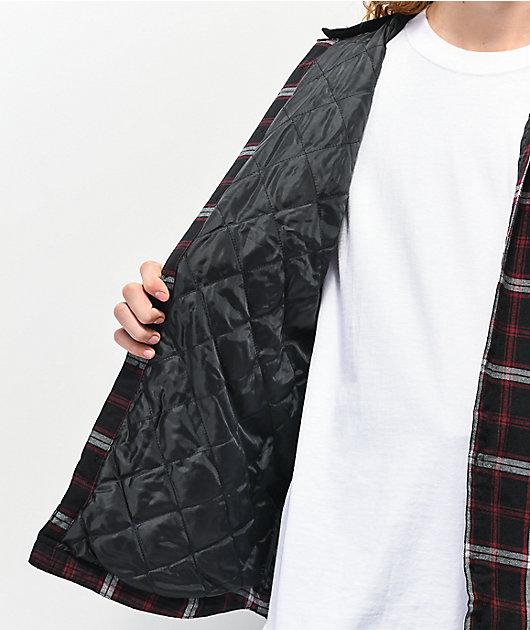 Globe Alford III Black & Red Hooded Flannel Shirt