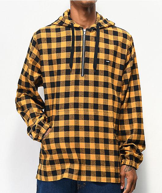 Globe Zip It Yellow Plaid Hooded Flannel Shirt