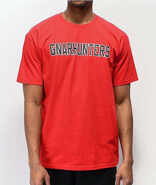 Gnarhunters Outline Logo camiseta roja