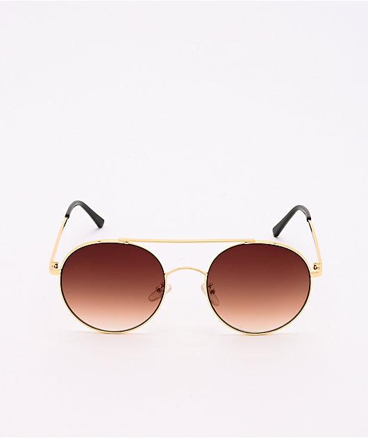 Gold & Brown Round Aviator Sunglasses
