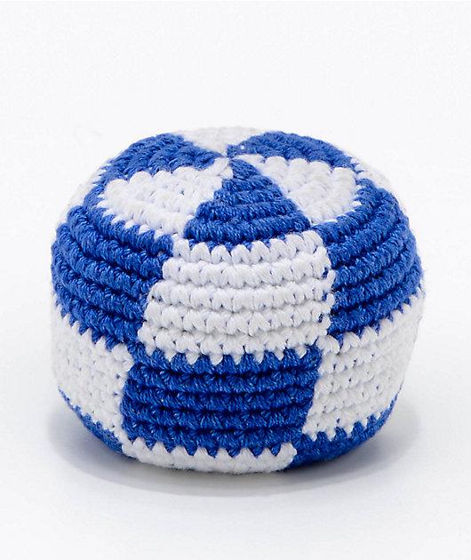 Guatemalart Checkerboard Blue & White Hacky Sack