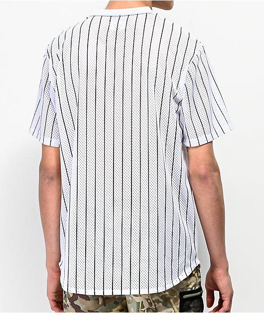 HUF Bronx White Henley Mesh Baseball Jersey