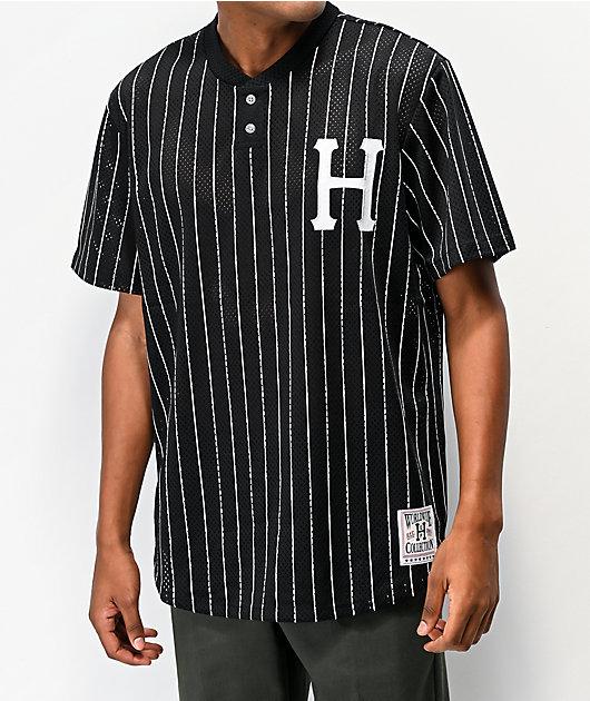 HUF Bronx camiseta de béisbol de malla negra y blanca