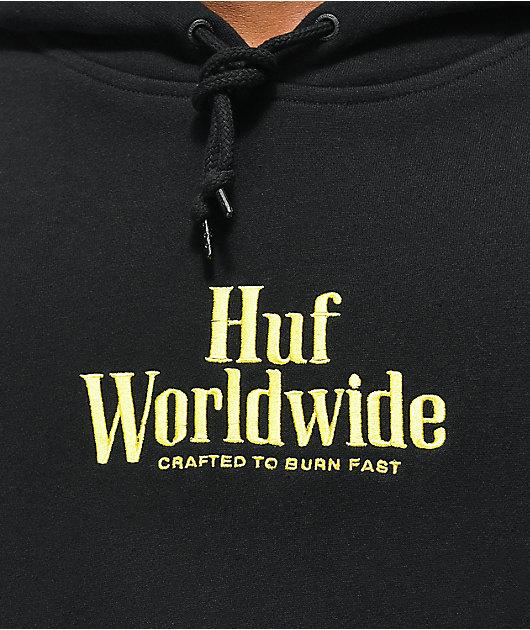 HUF Burn Fast Black & Yellow Hoodie