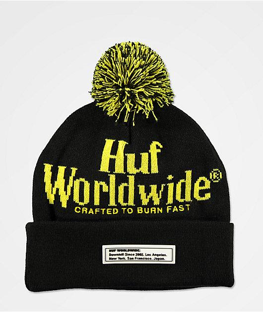 HUF Burn Fast gorro negro y amarillo con pompón