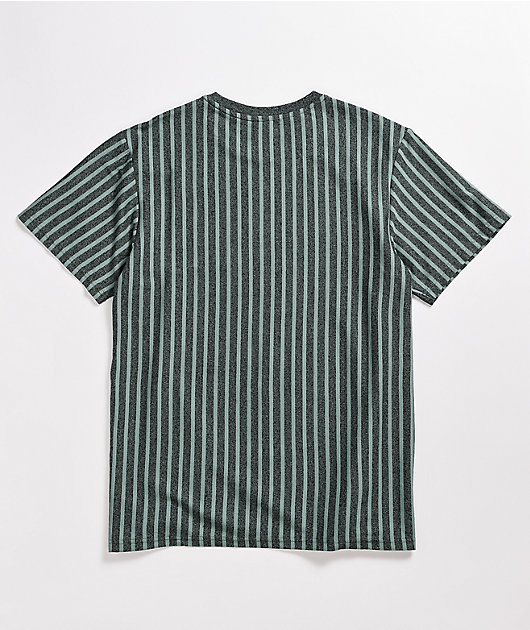 HUF Caesar Heather Grey & Blue Stripe Knit T-Shirt