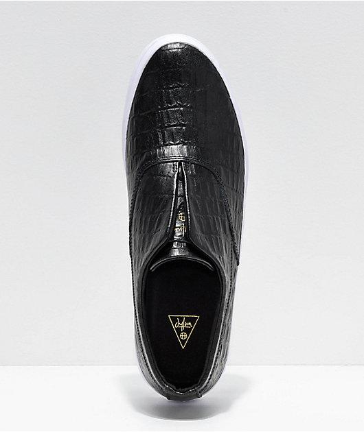 HUF Dylan Slip-On Black Croc Leather Skate Shoes