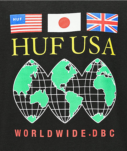 HUF Global Domination Black Long Sleeve T-Shirt