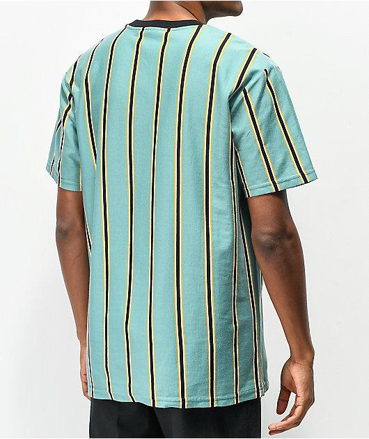 HUF Jerome Stripe Green, Black & Yellow Knit T-Shirt