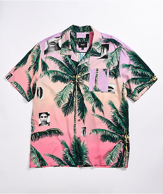 HUF Molly Resort Coral Woven Short Sleeve Button Up Shirt