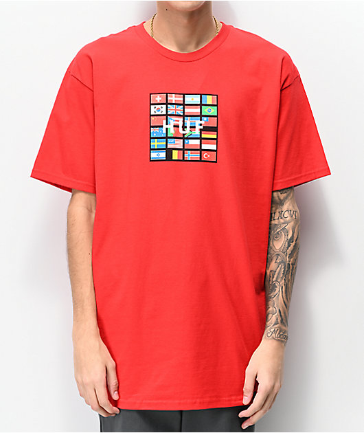 HUF Nations Box Logo Red T-Shirt