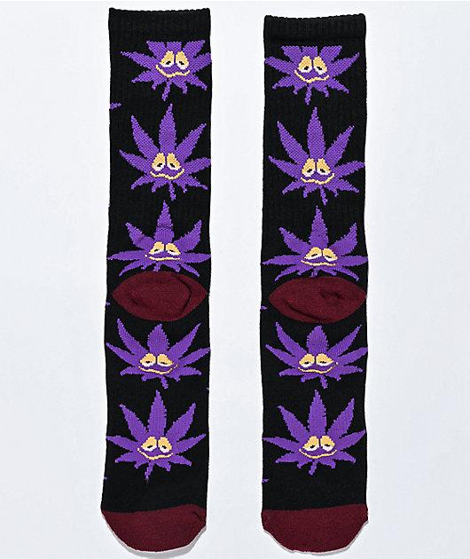 HUF Plantlife Green Buddy Black & Purple Crew Socks