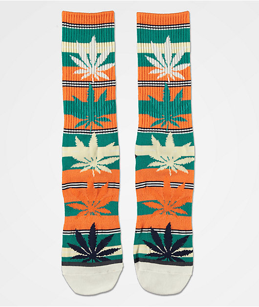 HUF Plantlife Stripe Russet Orange Crew Socks