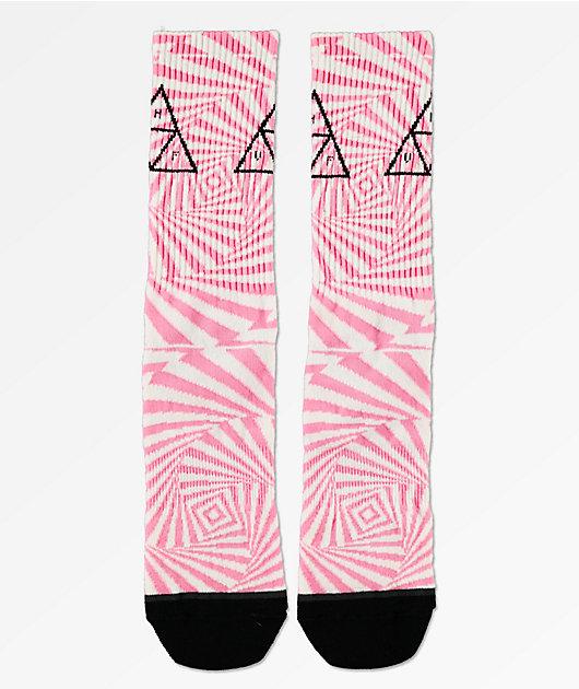 HUF Trance Triangle White, Fuchsia & Black Crew Socks