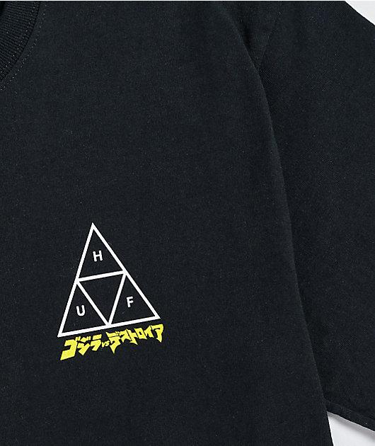 HUF x Godzilla Triple Triangle Black T-Shirt
