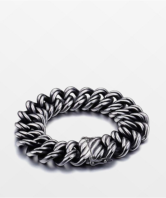 Half Hearted Ridged Cuban Stainless Steel Bracelet