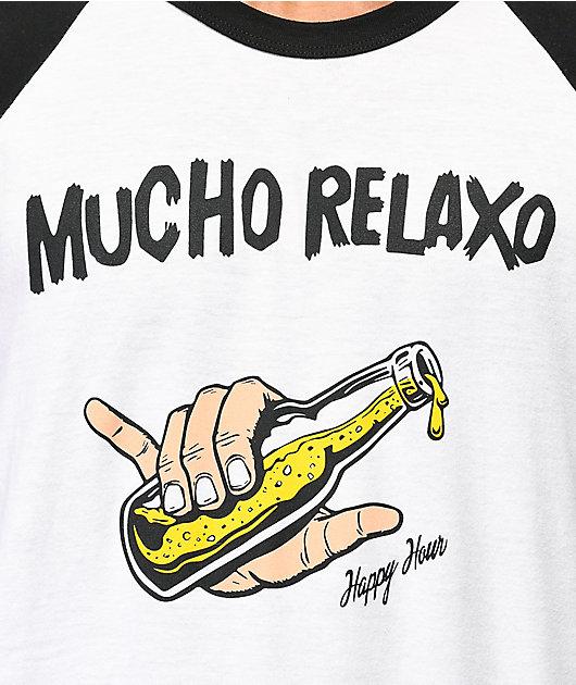 Happy Hour Mucho Relaxo camiseta blanca de béisbol