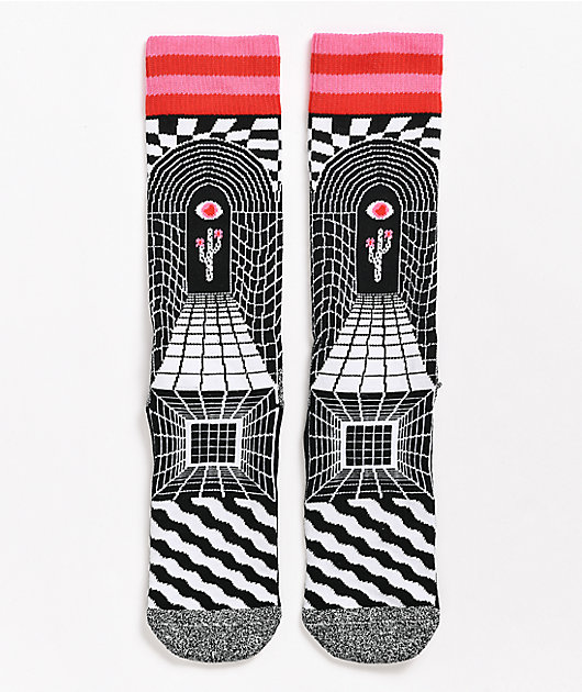 Happy Socks Illusion Black & White Crew Socks