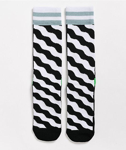 Happy Socks Mix Match Wavy Black & White Crew Socks