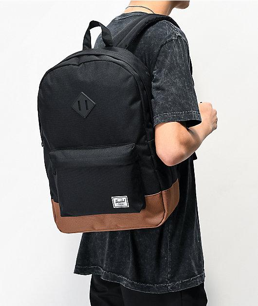 Herschel Supply Co. Heritage Black & Saddle Backpack
