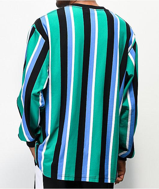 High Company Kidz camiseta de manga larga verde y azul de rayas verticales
