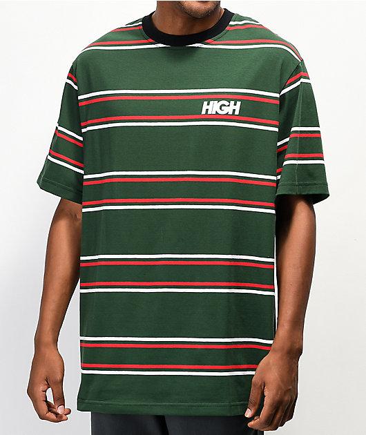 High Company Kidz camiseta verde y roja de rayas