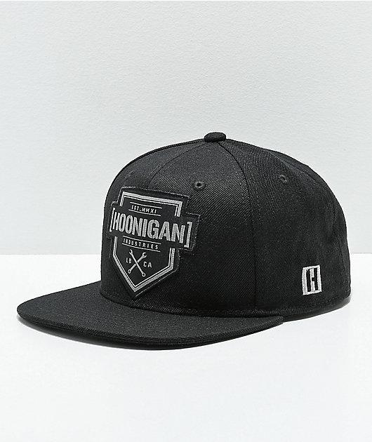 Hoonigan Bracket X Black & Black Snapback Hat