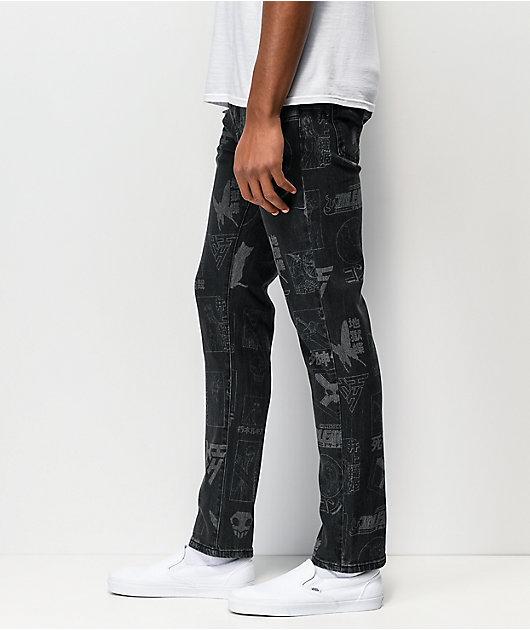 Hypland x Bleach All Over Black Denim Jeans