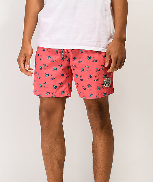Imperial Motion Seeker Tub Volley Coral Elastic Waist Shorts