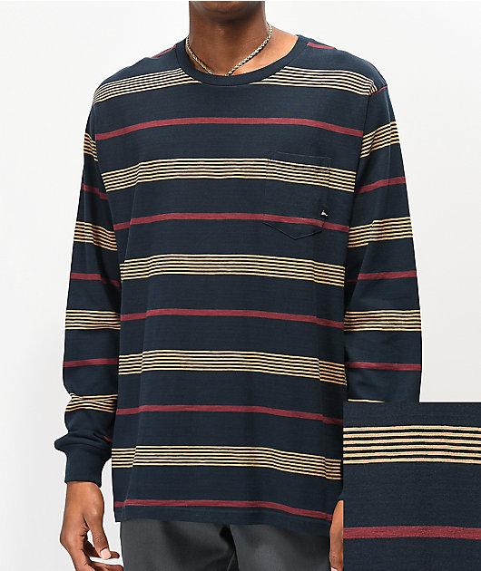 Imperial Motion Vintage Slub camiseta de manga larga azul marino de rayas