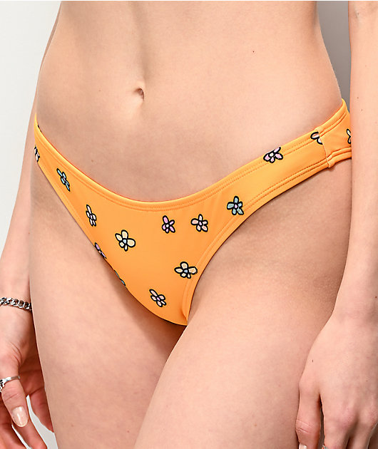 JV by Jac Vanek Delicate Flower Yellow Cheeky Bikini Bottom