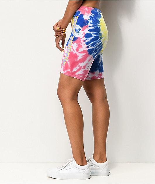 JV by Jac Vanek Stop Trippin Blue & Pink Tie Dye Bike Shorts