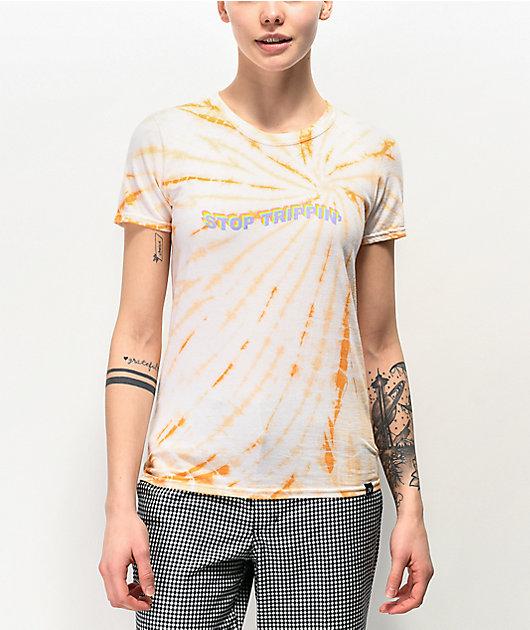 JV by Jac Vanek Stop Trippin Orange Tie Dye T-Shirt